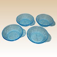 Set of Four EAPG Bryce Blue Willow Oak Fruit or Dessert Dishes with Tab Handles