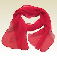 1950's Red Chiffon Scarf with Ruffled Edge