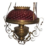 Victorian Brass Hanging Parlor Lamp with Cranberry Hobnail Glass Shade - Prisms Included