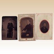 Three Small Tintype Photos - Circa 1875