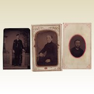 Three Small Tintype Photos - Circa 1875