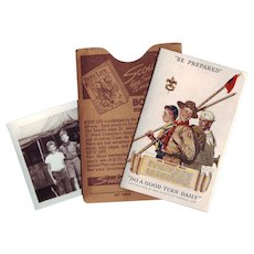 Vintage BSA Boy Scouts Membership Trifold Card 1940 with Sleeve and Photo of Scouts