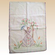 Hand Embroidered Tea Towel - Young Lady with Parasol - 1940's