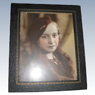 Tinted Sepia Photograph Portrait of Lovely Young Girl with Sad Eyes, Leather Covered Frame, Original Glass - 1934