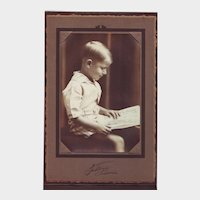 Studio Portrait Photo of Handsome Young Boy with Book - Circa 1928