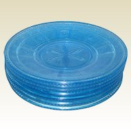 "EAPG Bryce Blue Willow Oak 7"" Luncheon or Salad Plates"