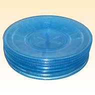 """EAPG Bryce Blue Willow Oak 7"""" Luncheon or Salad Plates"""