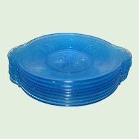 "Set of Four EAPG Bryce Blue Willow Oak  9 1/2"" Dinner Plates"
