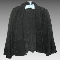 1940's Vintage Black Boucle Swing Coat