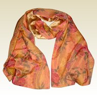 "Lined Apricot Silk Shawl or Stole with Roses - 88"" Long"