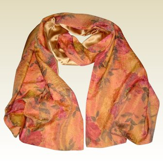 """Lined Apricot Silk Shawl or Stole with Roses - 88"""" Long"""