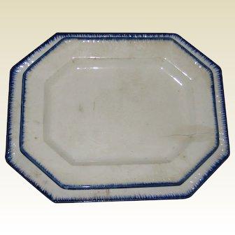Two Antique Burslem Staffordshire Ironstone Hexagonal Platters - Cobalt Blue Birdsfoot Feather Edgeware - Early 1800's