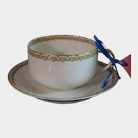Haviland Albany Porcelain Cup and Saucer - Schleiger 107A  - Black and Gold Greek Key Pattern