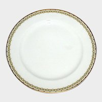 "Haviland Albany Porcelain 9 3/4"" Dinner Plate - Schleiger 107A  - Black and Gold Greek Key Pattern"