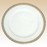 """Haviland Albany Porcelain 9 3/4"""" Dinner Plate - Schleiger 107A  - Black and Gold Greek Key Pattern"""