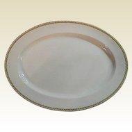 """Haviland Albany Porcelain Platter, 9"""" x 13"""" - Schleiger 107A  - Black and Gold Greek Key Pattern"""