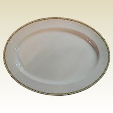 "Haviland Albany Porcelain Platter, 9"" x 13"" - Schleiger 107A  - Black and Gold Greek Key Pattern"