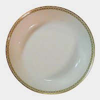"Haviland Albany Porcelain 7"" Shallow Serving or Salad Bowl - Schleiger 107A  - Black and Gold Greek Key Pattern"