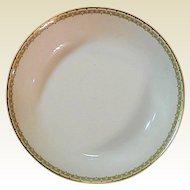 """Haviland Albany Porcelain 7"""" Shallow Serving or Salad Bowl - Schleiger 107A  - Black and Gold Greek Key Pattern"""