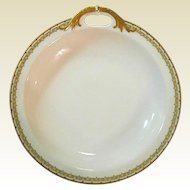 "Haviland Albany Porcelain 9"" Serving Bowl with Decorative Handle - Schleiger 107A  - Black and Gold Greek Key Pattern"