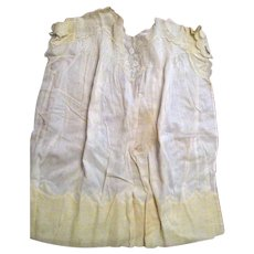 Handmade Child's or Infant's Cotton Dress with Embroidery and Yellow Border - Circa 1900