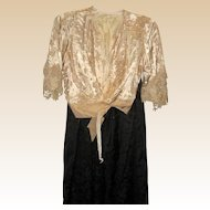 Victorian Two Piece Silk Dress - Cream Blouse with Lace - Circa 1880