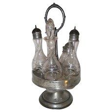 Victorian Silverplate Castor or Cruet Set with Five Bottles