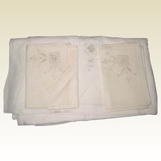"Hand Embroidered Linen Tablecloth 78"" x 64"" with Six Matching Napkins - 1930's - 1940's"