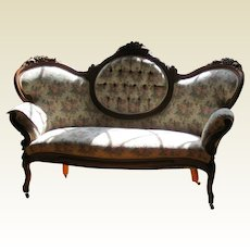 Antique Victorian Carved Walnut Rococo Revival Sofa or Settee - 2 Available