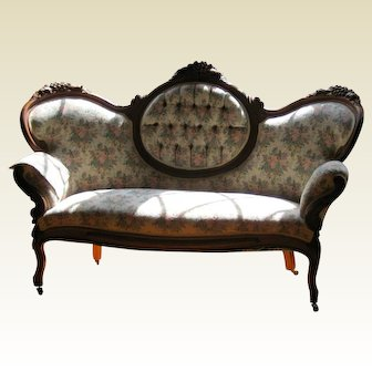 Antique Victorian Carved Walnut Rococo Revival Sofa or Settee - 1 Available