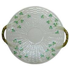 Belleek Shamrock Porcelain China Open Handled Cake Plate - 4th Mark 1946 - 1955