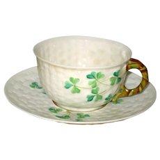 Belleek Shamrock Porcelain China Cup and Saucer - 4th Mark 1946 - 1955