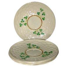 "One Belleek Shamrock Porcelain China 4 1/2"" Saucer - 4th Mark 1946 - 1955"