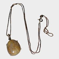 Petrified Wood Pendant with Sterling Silver Setting and Box Chain