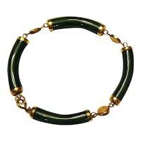 """1/20 12K Gold Filled Jade Bar Bracelet with Good Luck Symbols - 8"""""""