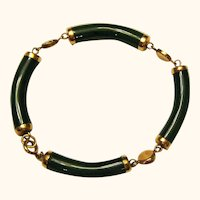 1/20 12K Gold Filled Jade Bar Bracelet with Good Luck Symbols - 8""