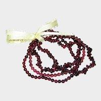 Set of Natural Garnet Gemstone and Crystal Stretch Bracelets