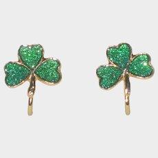 Goldtone and Green Enamel Irish Shamrock Clip Earrings