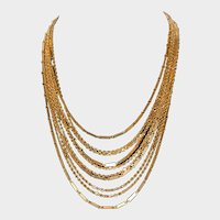 Sarah Coventry Signed 10 Strand Tiered Chain Necklace - Gold-tone