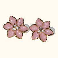 Pink Enamel Clip On Earrings with Rhinestone Centers