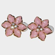 Pink Enamel Clip On Earrings with Rhinestone Centers