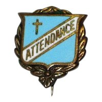 1930's Blue Enamel Sunday School Catholic Church Attendance Pin