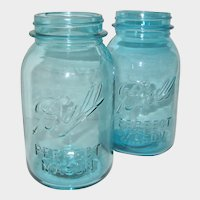 Pair of Aqua Blue Quart Size Ball Perfect Mason Canning Jars - 1923 - 1933