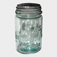 Pale Aqua Atlas Strong Shoulder Mason with Zinc Lid, Pint Size - 1920 - 1940