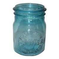 1920's Aqua Trade Mark Banner Warranted Canning Fruit Jar - Pint Size
