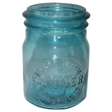 1920's Aqua Trade Mark Banner Warranted Canning Fruit Jar - Pint Size
