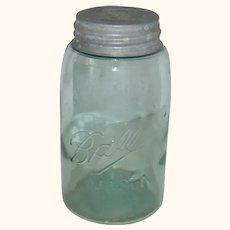 Ball Mason Aqua Blue Green Quart Canning Jar with Zinc Lid - 1900-1910
