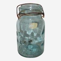 Atlas E-Z Seal Aqua Quart Sized Canning Jar