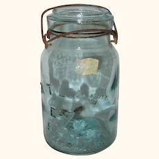Atlas E-Z Seal Aqua Quart Sized Canning Jar