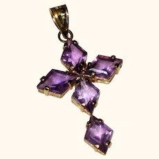 Amethyst Cross Pendant - Lozenge Cut Stone, 14K Yellow Gold Setting